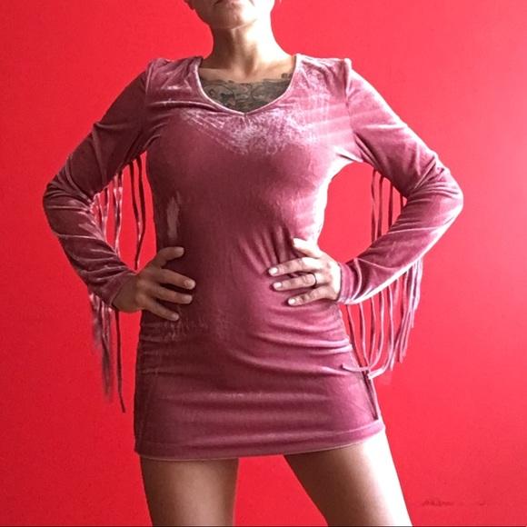 Glamorous Dresses & Skirts - New with tags Glamorous velvet fringe bodycon XS